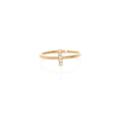 14k pave tiny bar ring