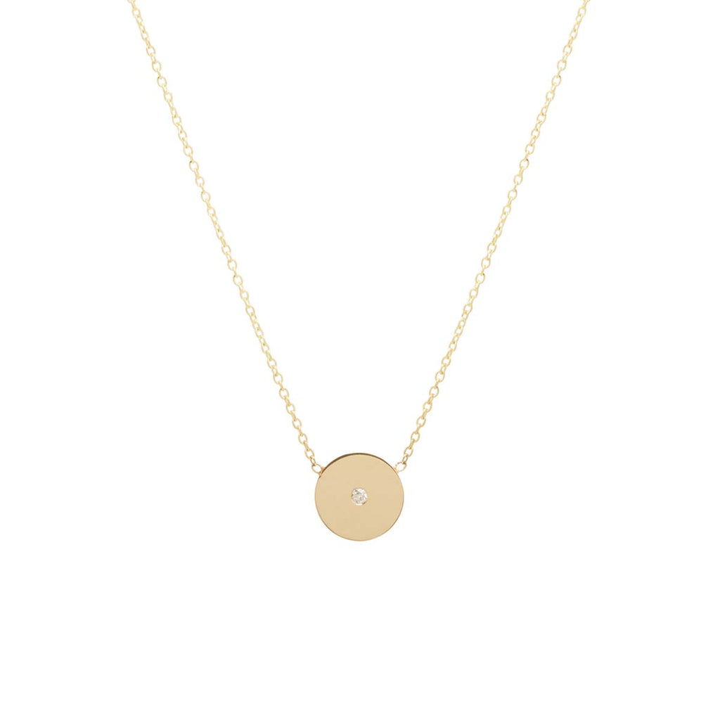 Zoë Chicco 14kt Yellow Gold White Diamond Itty Bitty Disc Necklace