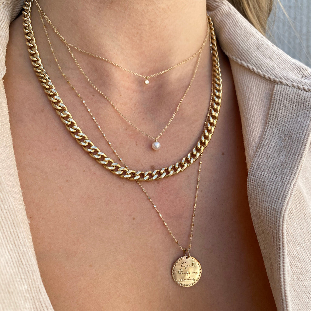 14k small mantra necklace on square bead chain