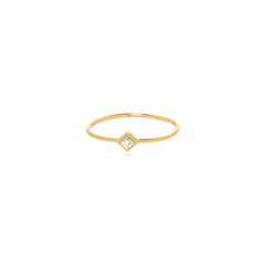 Zoë Chicco 14kt Yellow Gold White Diamond Shape Bezel Ring
