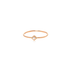 Zoë Chicco 14kt Rose Gold White Diamond Shape Bezel Ring