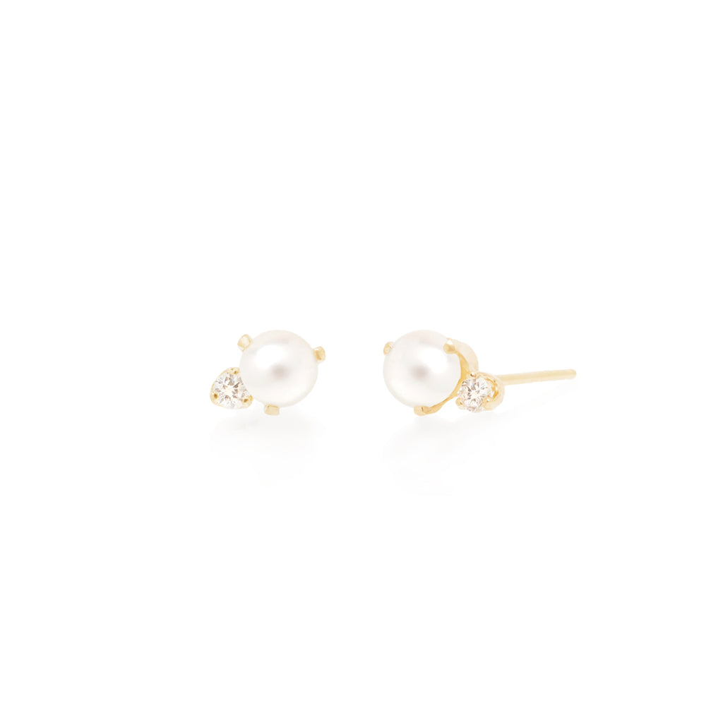 14k pearl and diamond studs