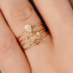 14k barbed wire ring