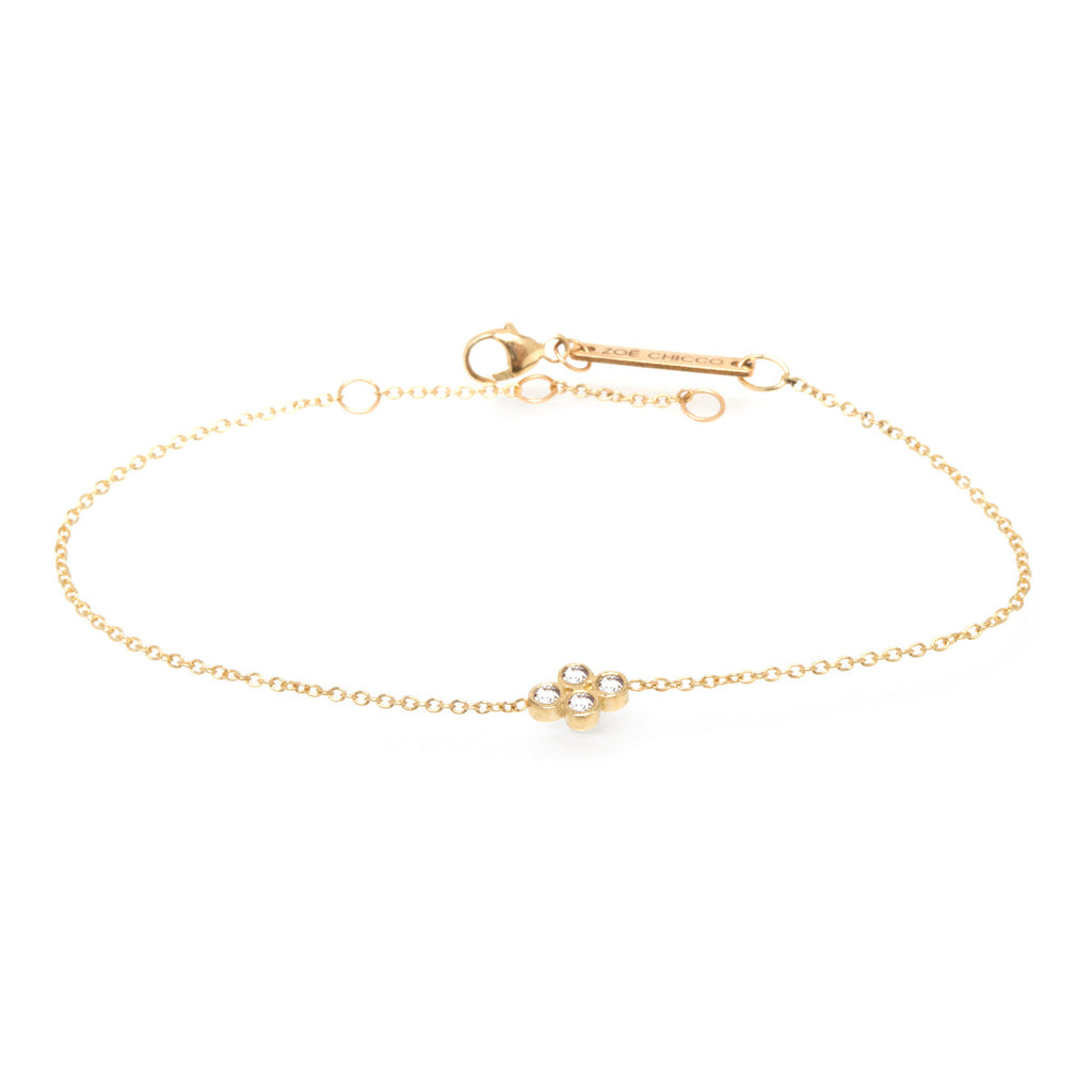 14k quad bezel diamond bracelet