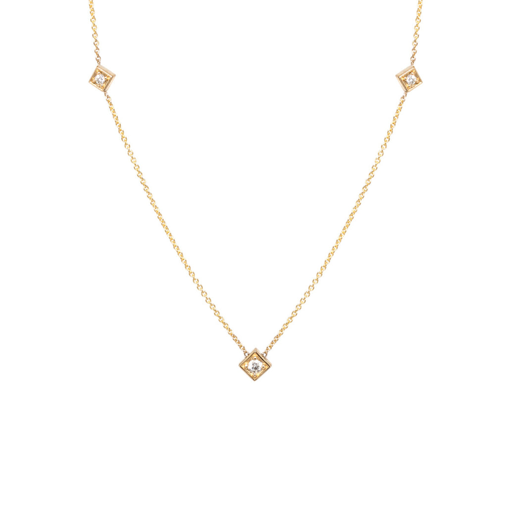 14k diamond shaped station necklace
