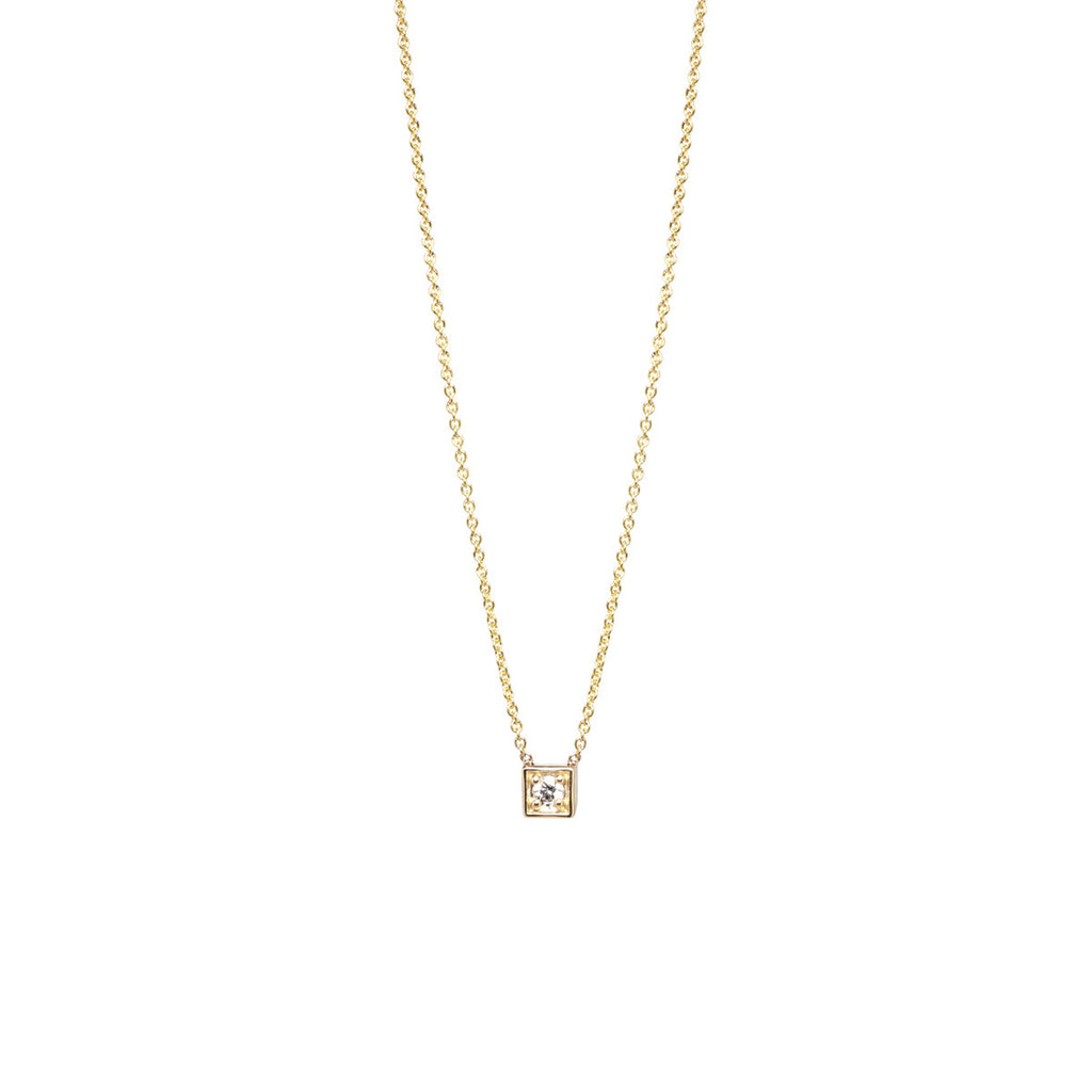 14k diamond square necklace