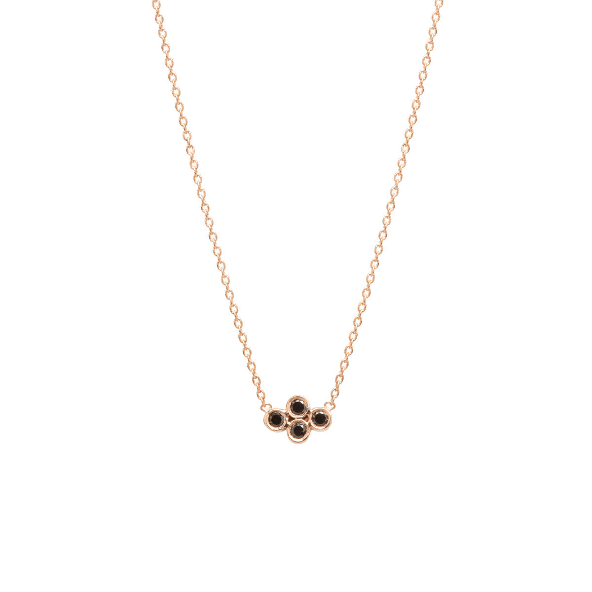 14k small horizontal quad black diamond necklace