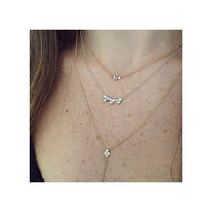 14k small horizontal quad diamond necklace