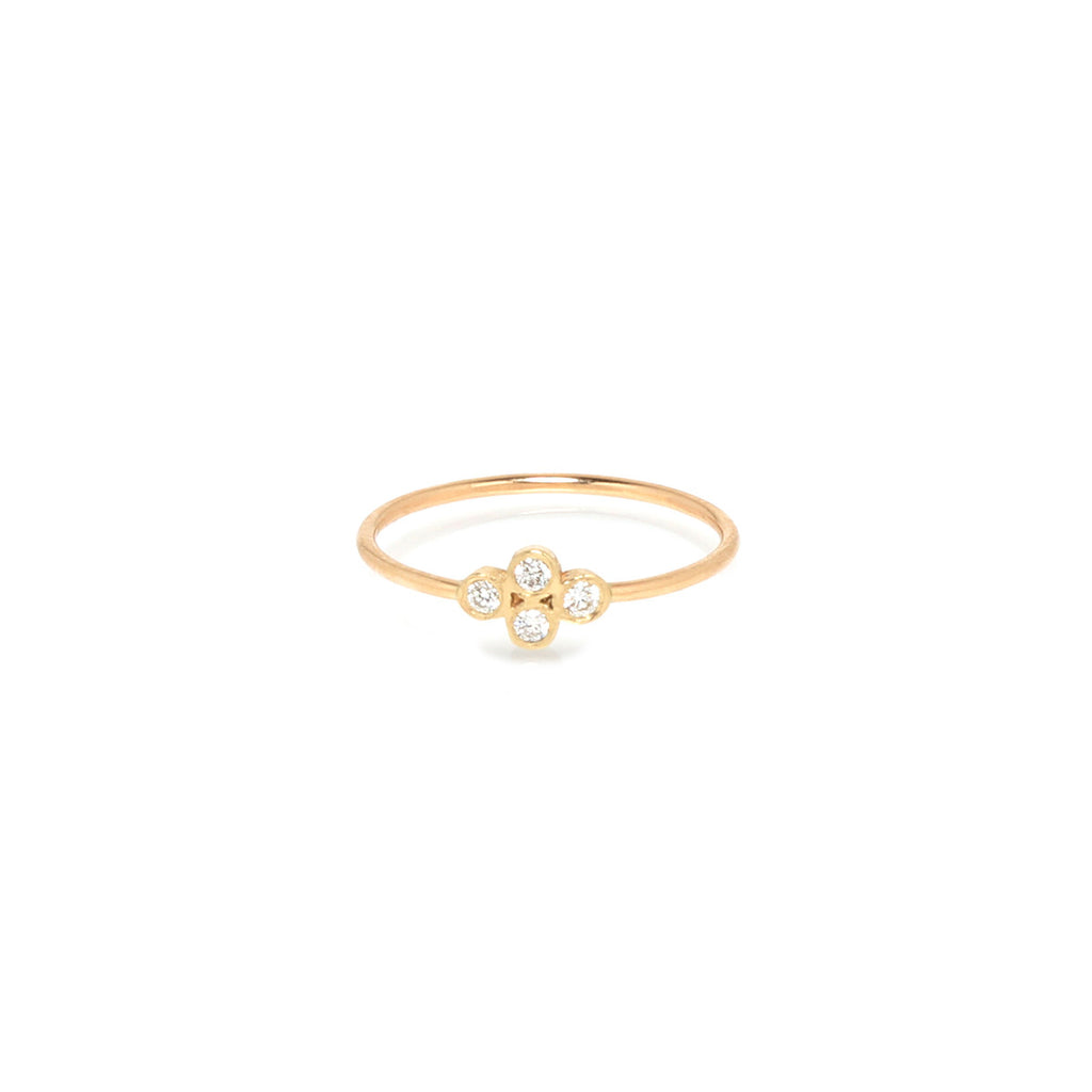 14k horizontal diamond quad ring