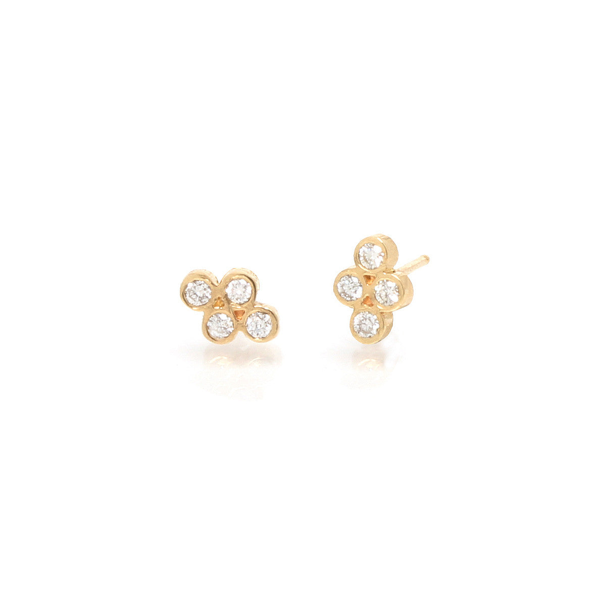 14k small quad diamond studs