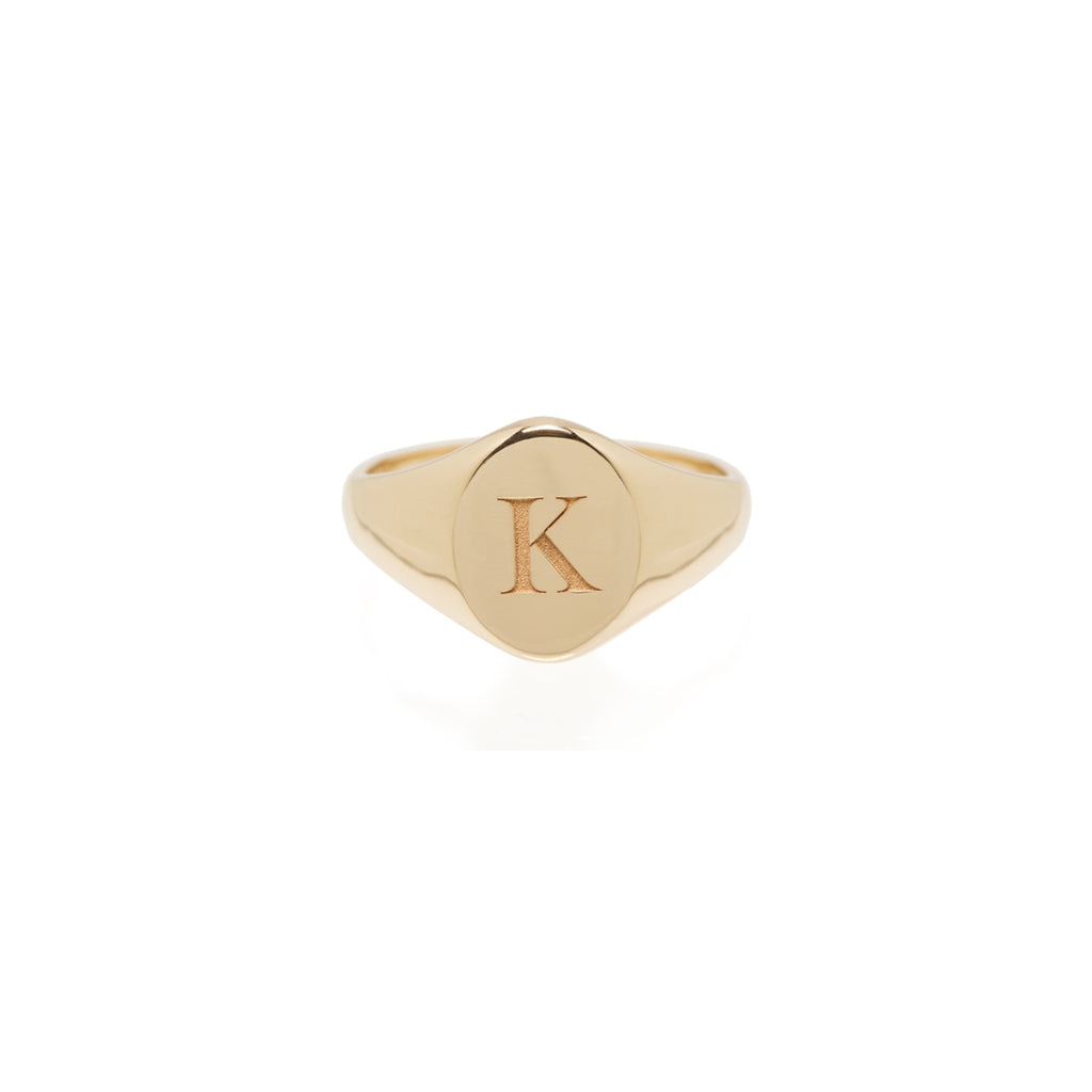 Zoë Chicco 14kt Yellow Gold Engraved Signet Ring