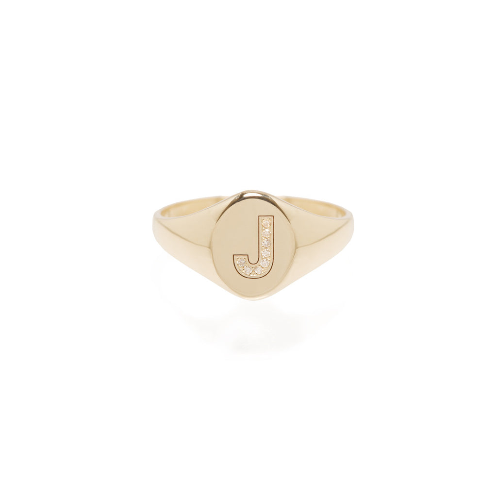 14k pave initial signet ring