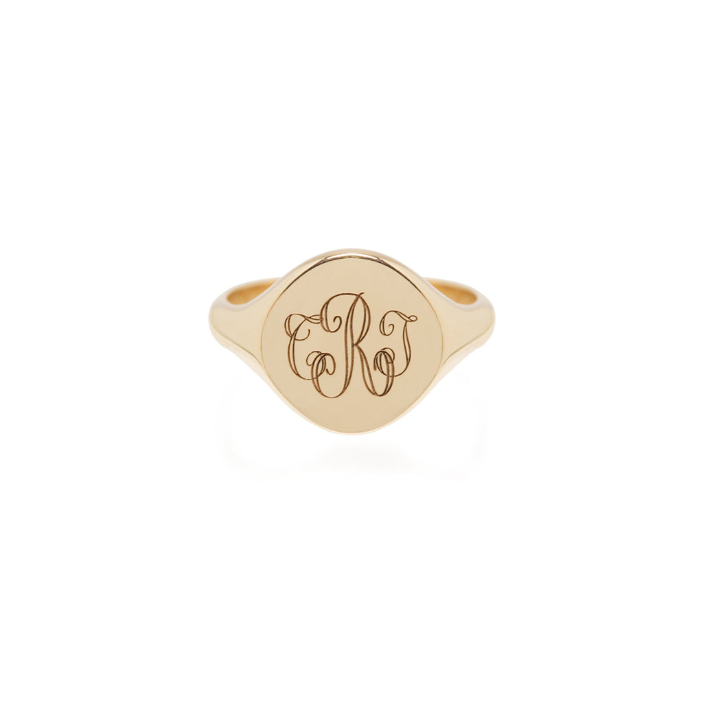14k monogram signet ring