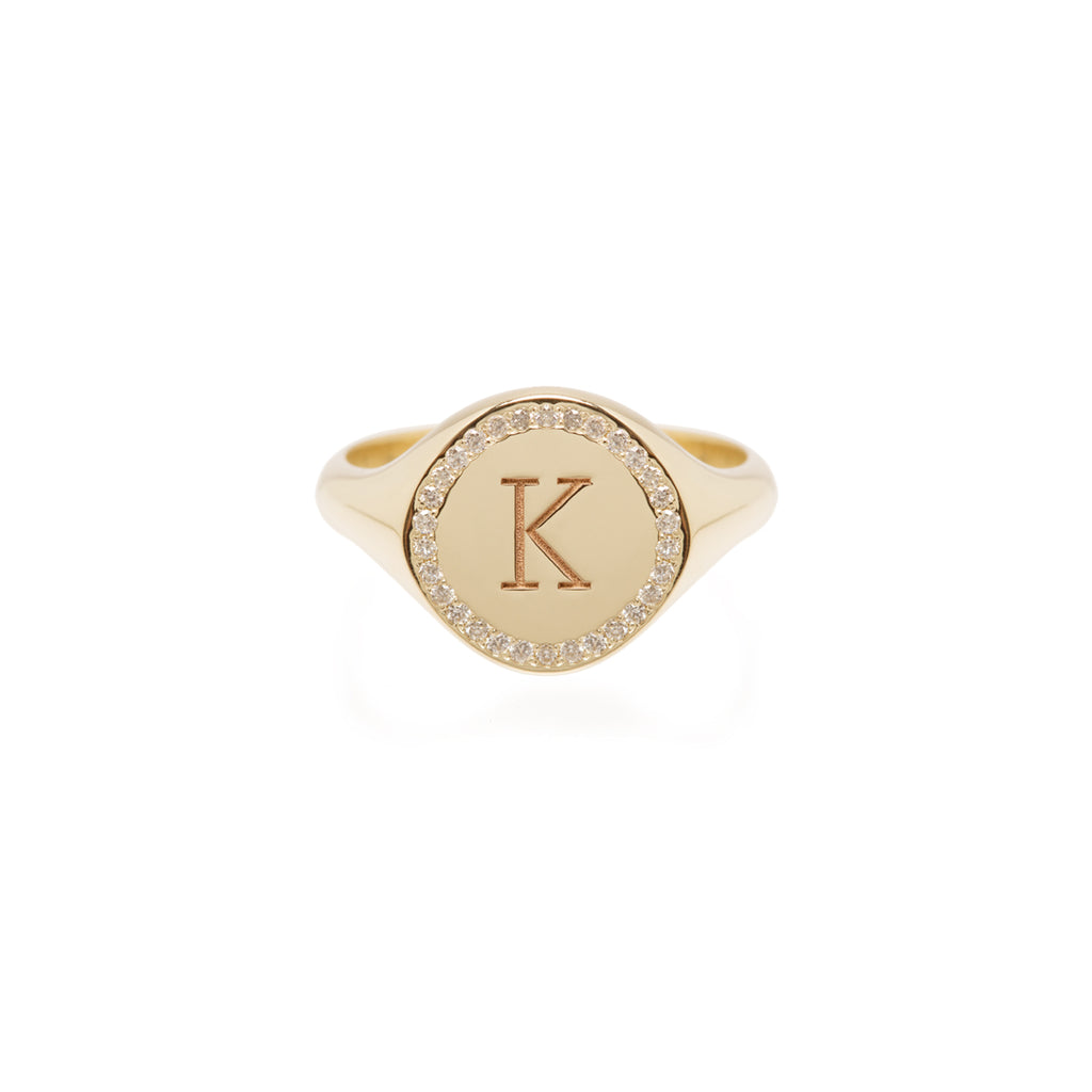 14k pave halo signet ring