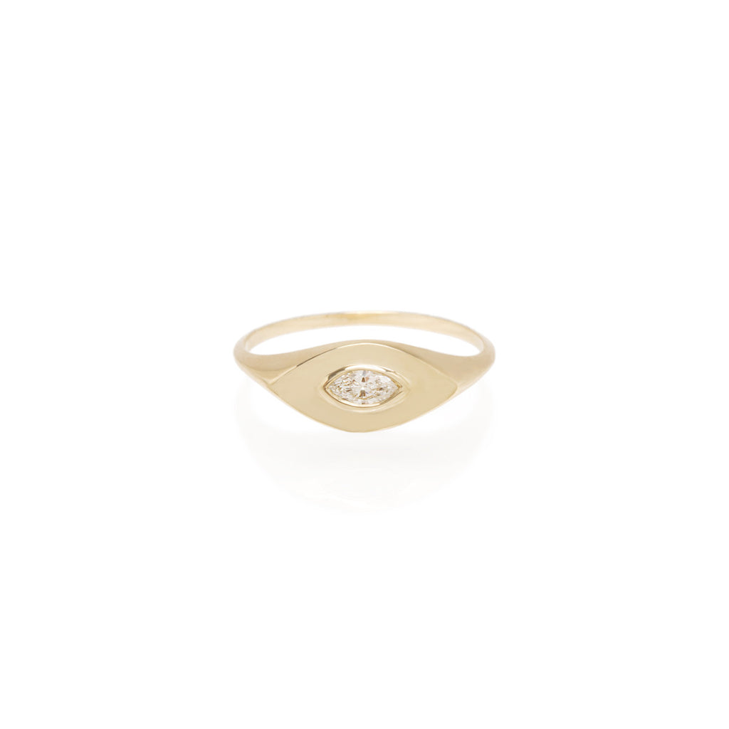 14k marquis diamond signet ring