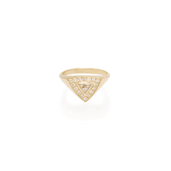 14k pave and trillion diamond signet ring
