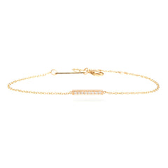 14k pave short bar bracelet