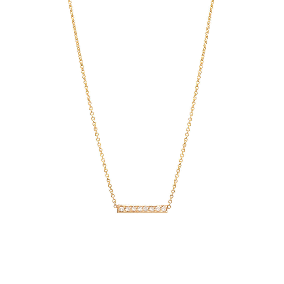 14k short pave bar necklace