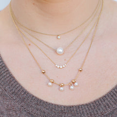 14k adjustable pearl & bead necklace