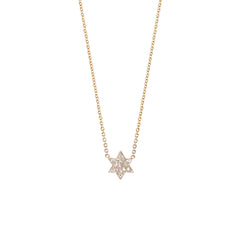 14k pave Star of David necklace