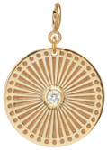 14k small sunbeam medallion disc charm on spring ring