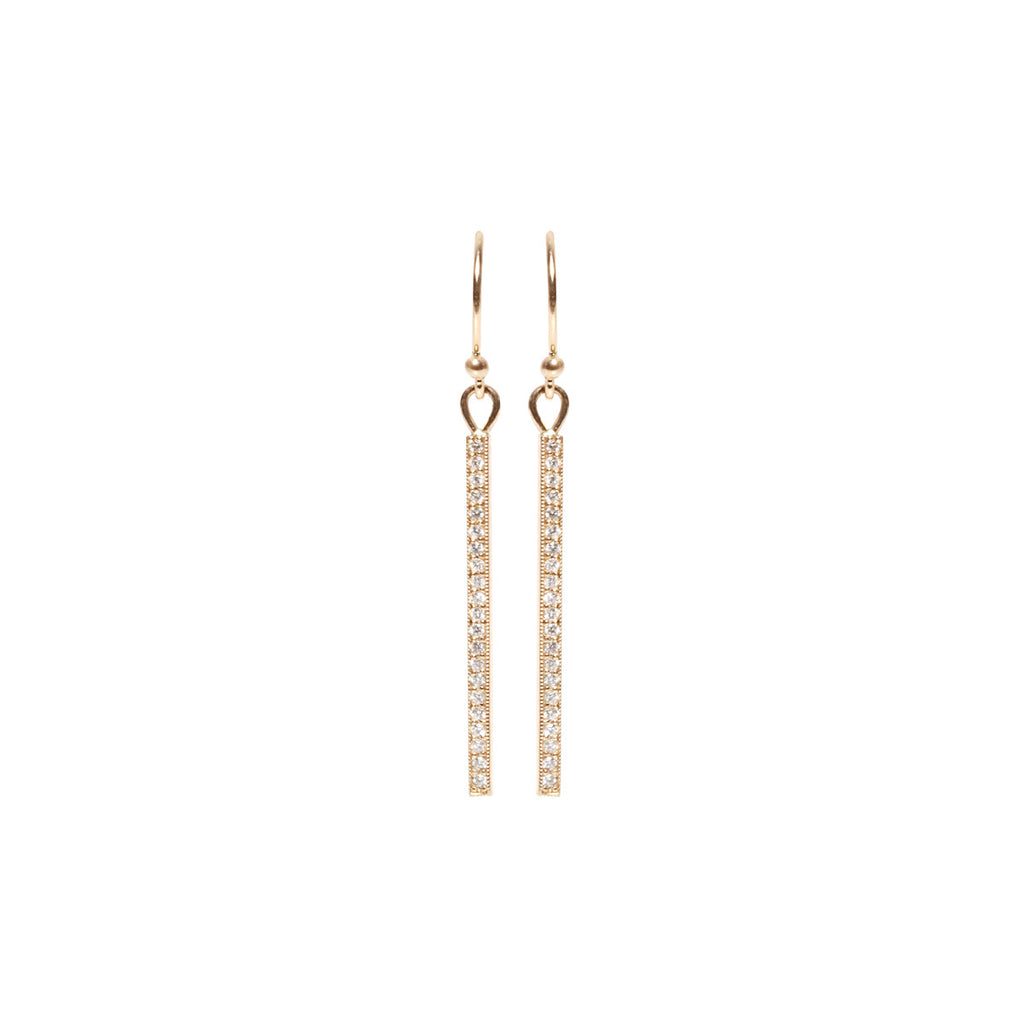 14k pave short bar earrings