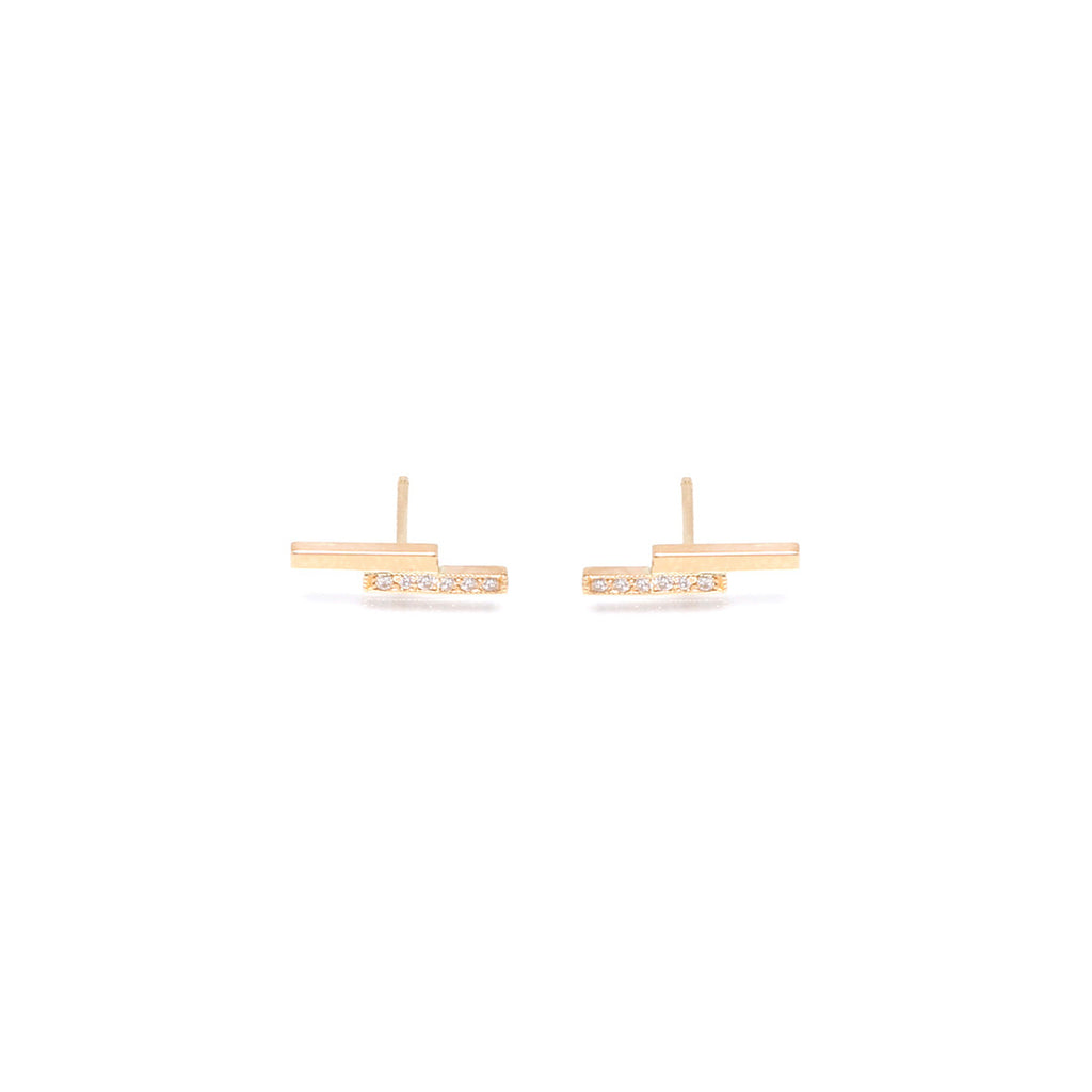 14k pave staggered bar studs