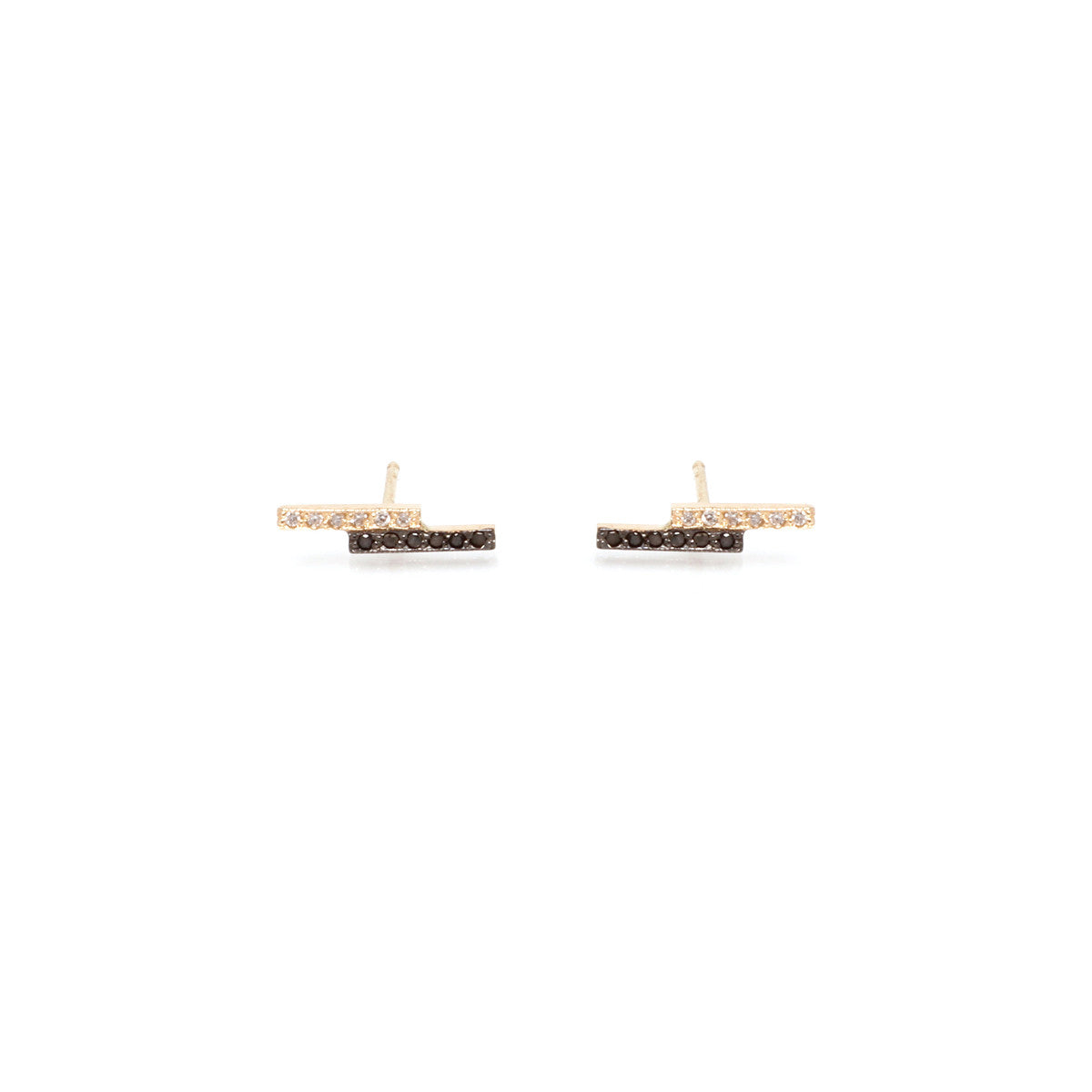 14k mixed pave staggered bar studs