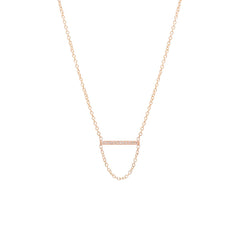 14k short pave bar chain necklace