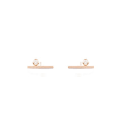 14k prong set diamond bar studs