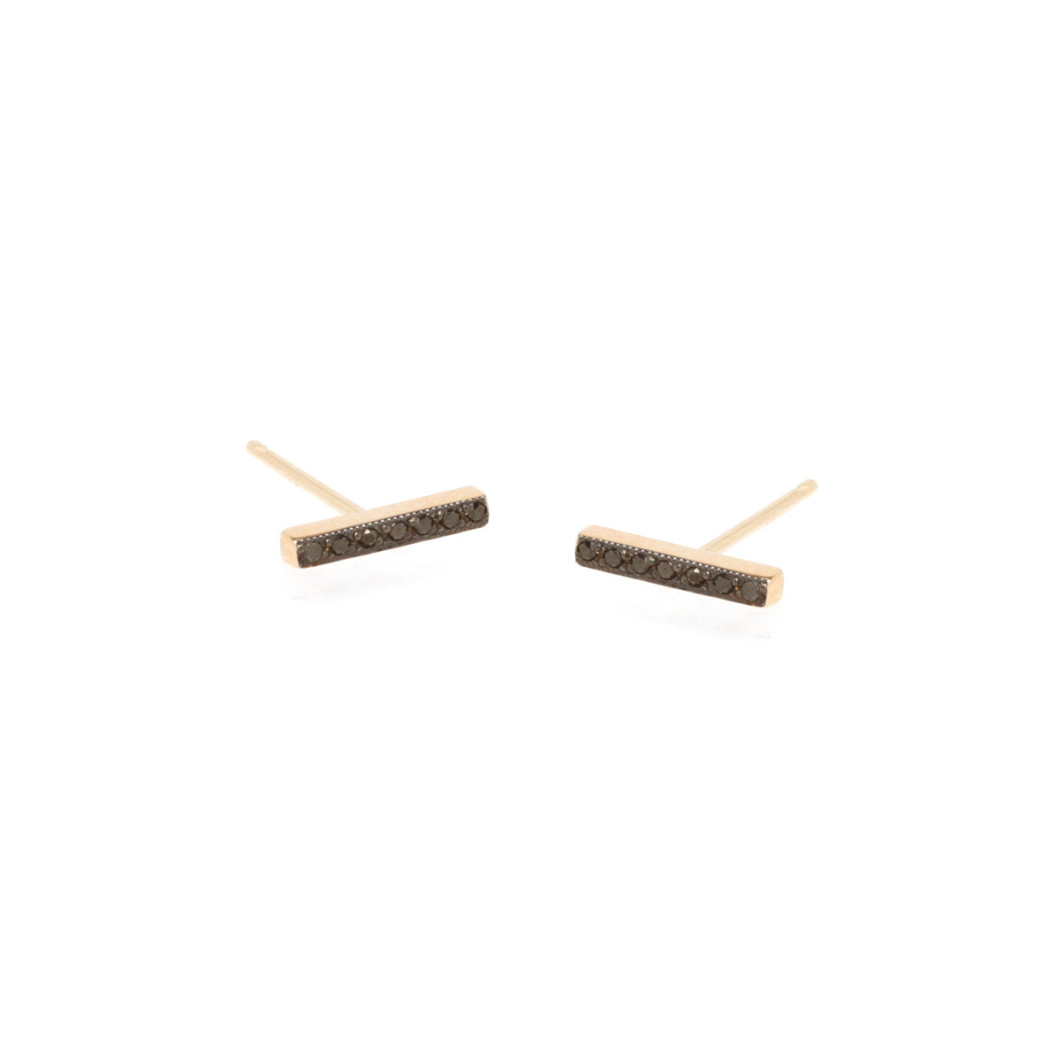 14k pave black diamond bar studs