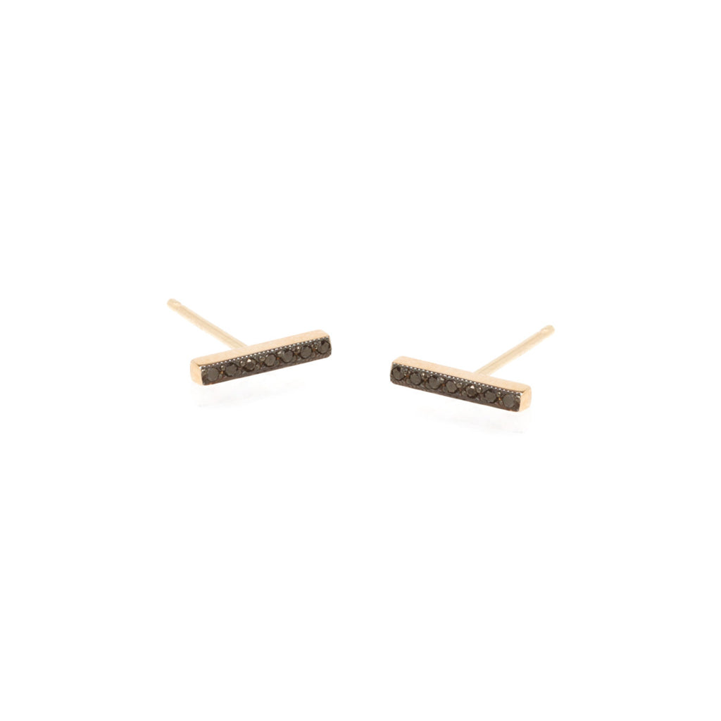 pave black diamond bar studs