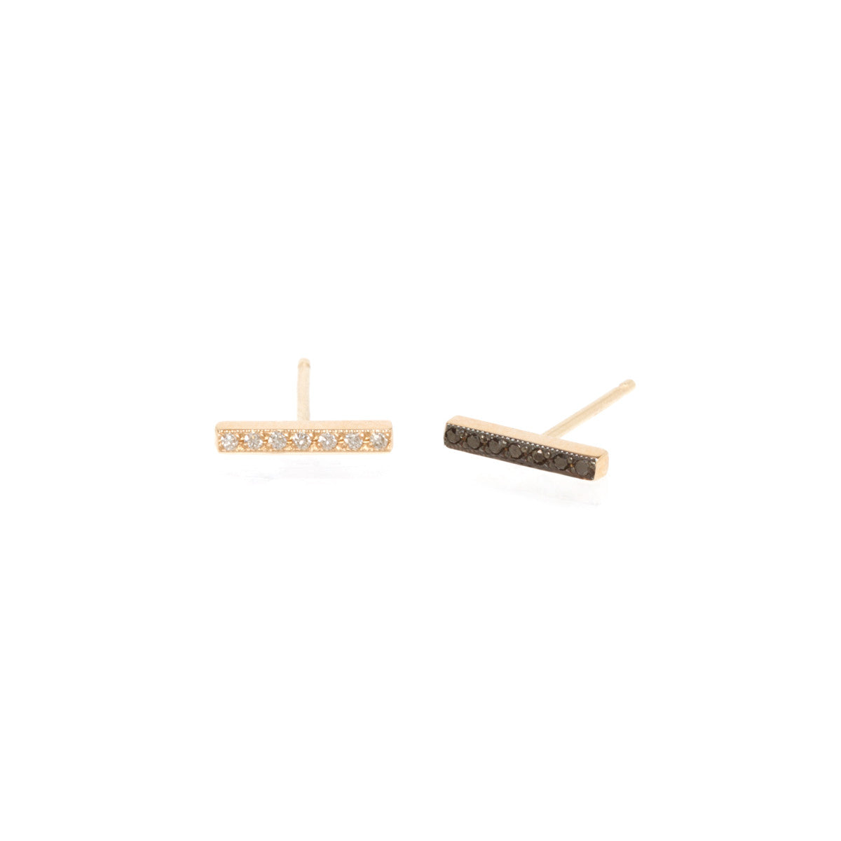 14k pave mix matched bar studs