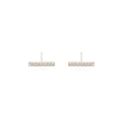 pave white diamond bar studs