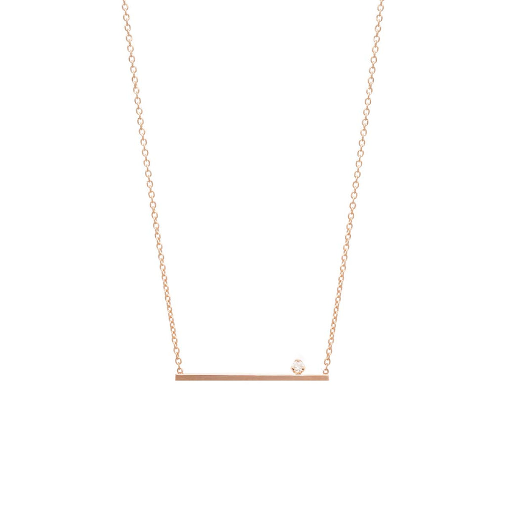 14k prong set diamond straight bar necklace