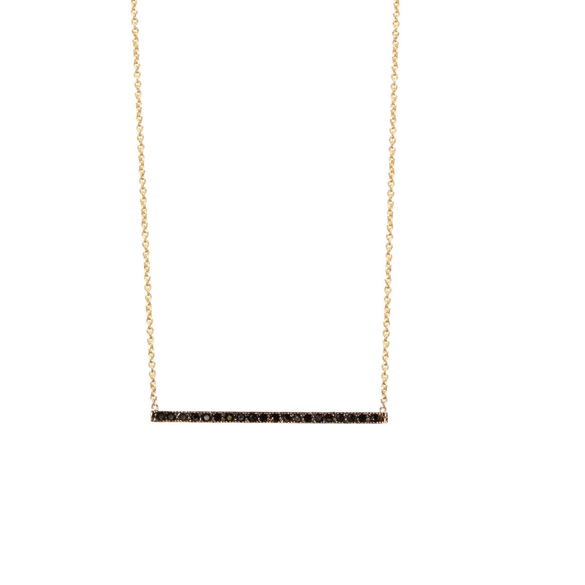 14k black thin bar necklace
