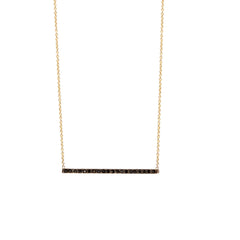 Zoë Chicco 14kt Gold Black Diamond Thin Bar Necklace