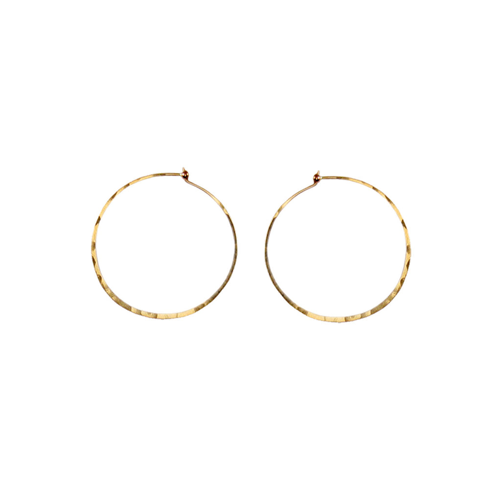 14k small thin hammered hoops