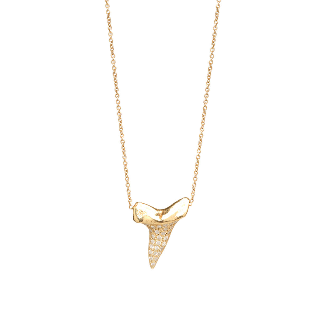 14k pave sharks tooth necklace