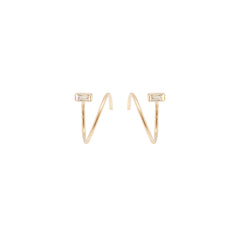 Zoë Chicco 14kt Yellow Gold White Baguette Diamond Small Swirl Hoop Earrings