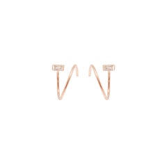 Zoë Chicco 14kt Rose Gold White Baguette Diamond Small Swirl Hoop Earrings