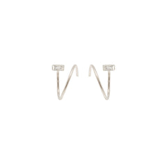 Zoë Chicco 14kt White Gold White Baguette Diamond Small Swirl Hoop Earrings