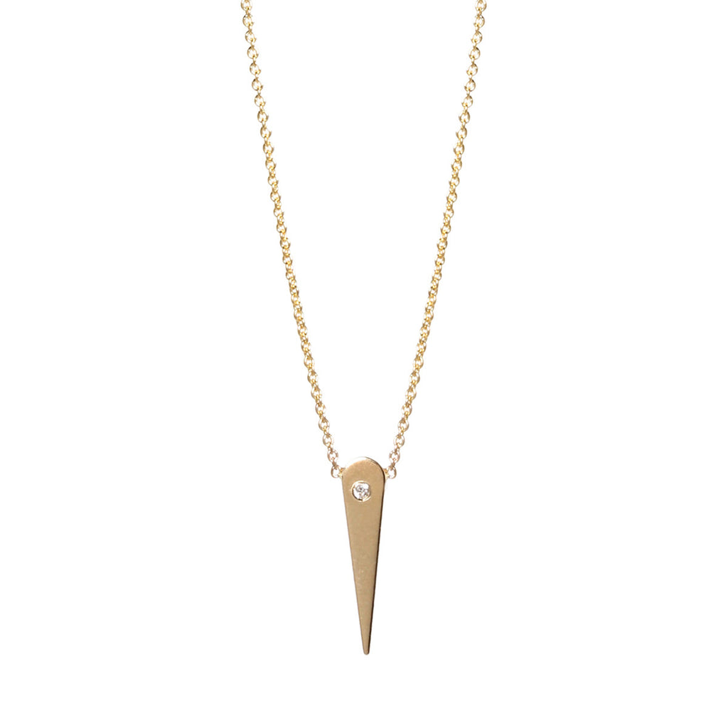 14k diamond thorn necklace