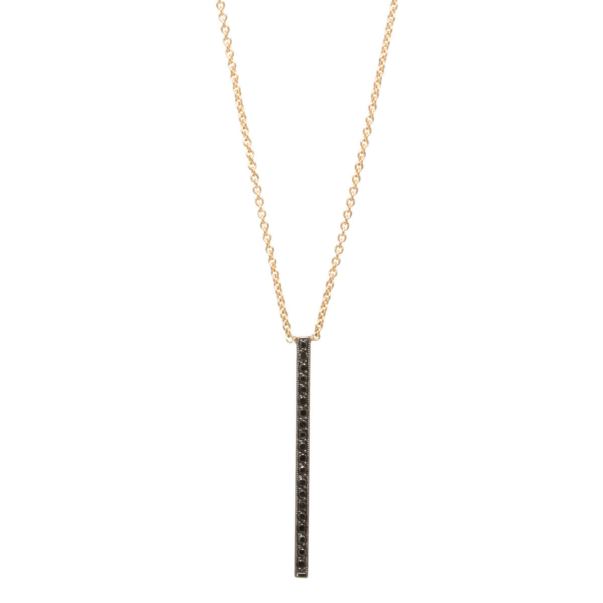 14k black pave vertical bar necklace