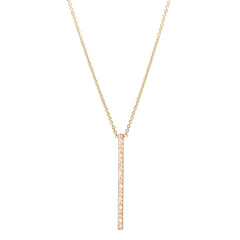 14k pave vertical bar necklace