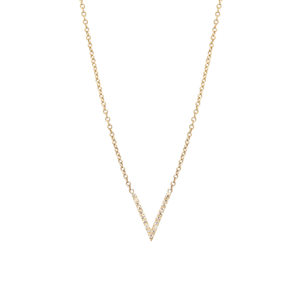 14k pave small V necklace