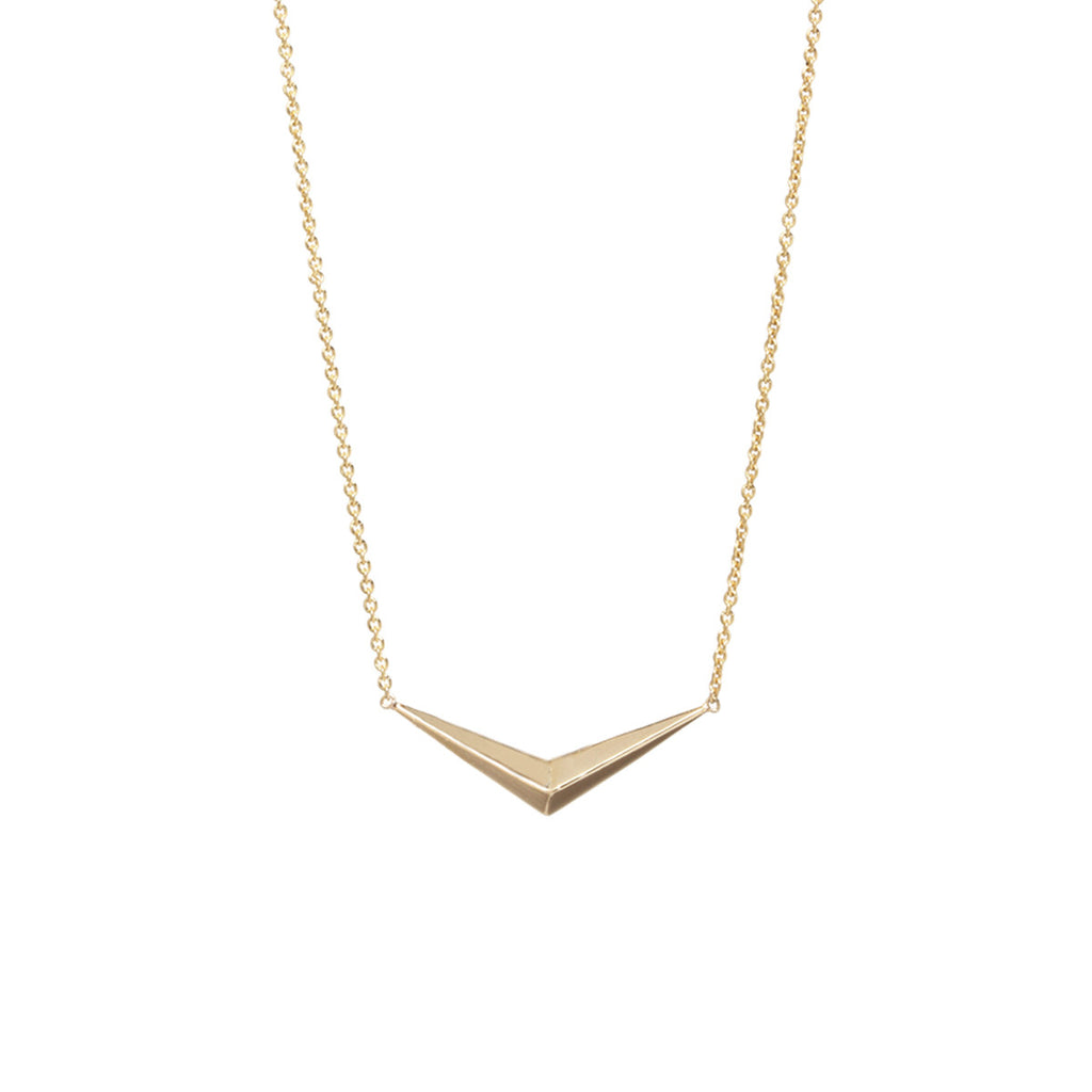 14k pave wide V pyramid necklace