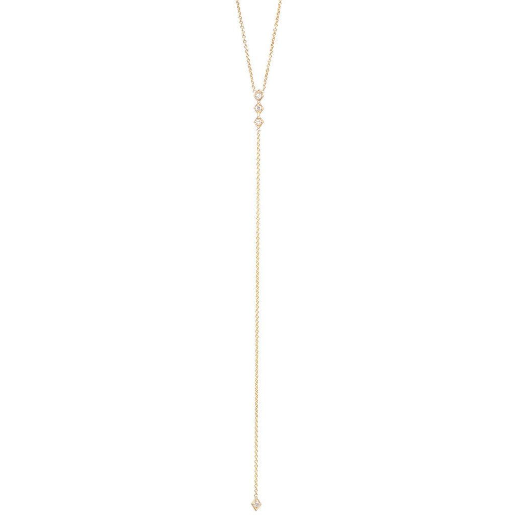 14k 4 tiny diamond lariat necklace