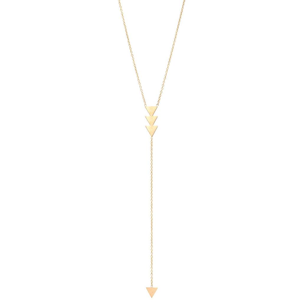 14k 3 triangle lariat necklace