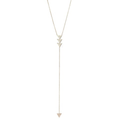 14k 3 triangle with diamonds lariat necklace